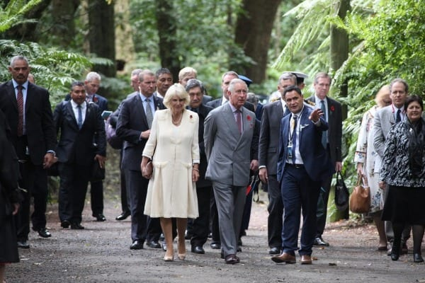 Charles and Camilla walking through Pukekura park