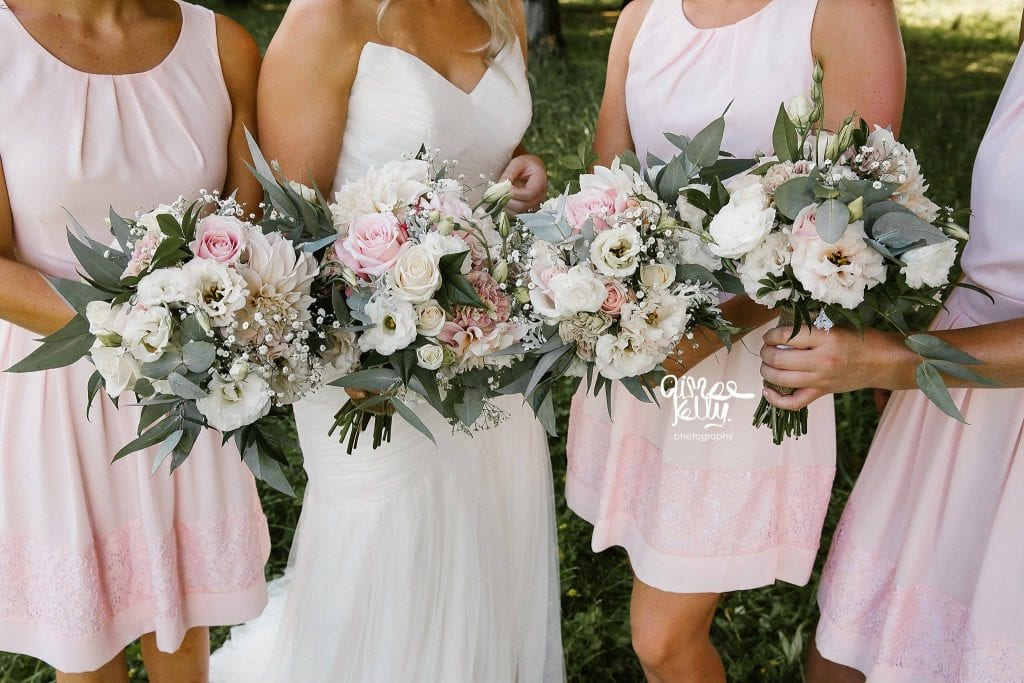 soft pink bridesmaids dresses with white and pink bouquets