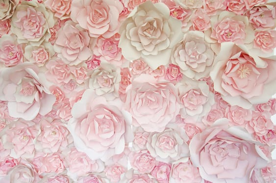 Pink paper flower wall