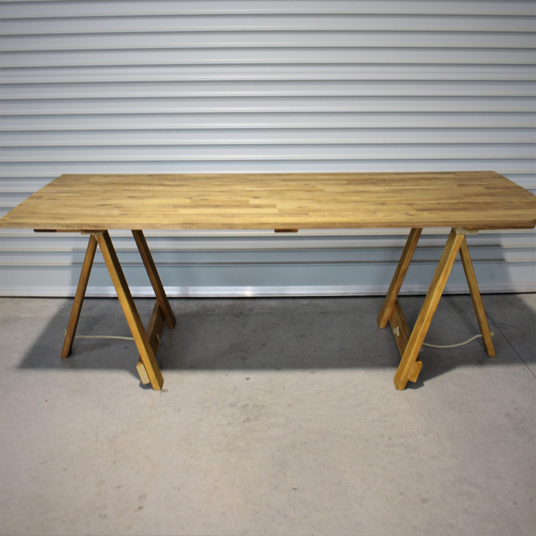 Wooden trestle table 2 2m