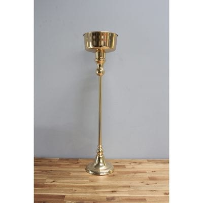 Tall gold hire vase for weddings or events