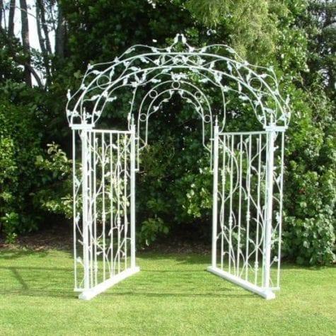 white wrought iron wedding arch