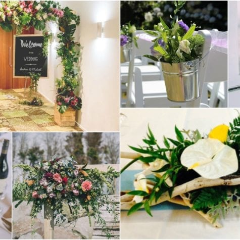 Arch flowers aisle flowers and table arrangement with beach theme