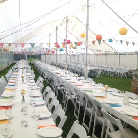 large white hire marquee for corporate xmas event